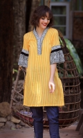 DIGITAL PRINTED SHIRT WITH EMBROIDERY CHINESE NECK 3 QUARTER SLEEVES STRAIGHT HEIM