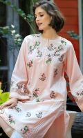 LAWN EMBROIDERED KURTA BOAT NECK STRAIGHT SLEEVES STERAIGHT HEIM WITH PEARLS EMBELLISHMENT