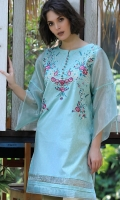 EMBROIDERED JACQUARD SHIRT STRAIGHT HEIM ORGANZA STYLIZED SLEEVES BOAT NECK WITH SLIT EMBELLISHED WITH EMBROIDERED BUTTONS