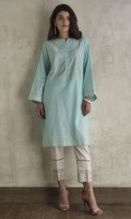 CHICKENKARI LAWN SHIRT STRAIGHT HEIM BOAT NECK STRAIGHT SLEEVES EMBELLISHED WITH PEARLS