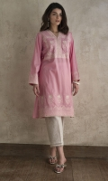 CHICKENKARI LAWN SHIRT STRAIGHT HEIM V-NECK STRAIGHT SLEEVES EMBELLISHED WITH LACE