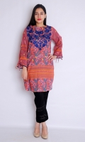PRINTED COTTON NET FRONT BACK PRINTED + EMBROIDERED FULL LENGTH STRAIGHT CUT SLEEVES BOAT NECK STRAIGHT HEIM