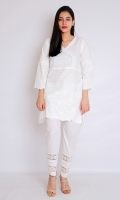WHITE PASTE ANRAKHA FROCK STYLIZED SLEEVES EMBELLISHED FRONT WITH PEARLS AND LACE