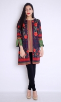 FRONT OPEN COAT STYLE PRINTED EMBROIDERED SHIRT BOAT NECK STRAIGHT HEIM STRAIGHT SLEEVES