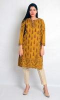 STRAIGHT EMBROIDERED SHIRT WITH CUT WORK NECK LINE SLEEVES AND HEIM WITH BUTTONS EMBELLISHMENT ON SLEEVES