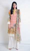 PRINTED 2PCS SUIT EMBELISHED WITH EMBROIDERY BOAT NECK STRAIGHT HEIM STRAIGHT SLEEVES CHIFFON DUPATTA