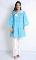 EMBROIDERED SHIRT V- NECK FROCK CUT FULL LENGTH BELL SLEEVES PRINTED BACK