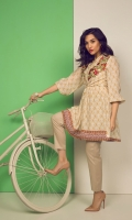 PRINTED SHIRT EMBROIDERED CHINESE NECK FROCK CUT FULL LENGTH GATHER SLEEVES PRINTED BACK