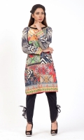 PRINTED SHIRT  EMBROIDERED BOAT NECK WITH HAND WORK EMBELLISHMENT STRAIGHT HEM FULL LENGTH STRAIGHT SLEEVES PRINTED BACK