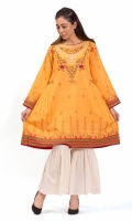 PRINTED SHIRT  EMBROIDERED BOAT NECK  FULL LENGTH STRAIGHT SLEEVES PRINTED BACK BOTH SIDE PLAETED FROCK