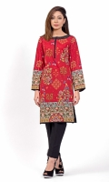 PRINTED SHIRT EMBROIDERED BOAT NECK WITH SLIT STRAIGHT HEM FULL LENGTH STRAIGHT SLEEVES PRINTED BACK HAND EMBELLISHED NECK WITH BEADS.