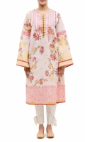 EMBROIDERED FROCK  ROUND NECK  FULL LENGTH STRAIGHT SLEEVES  PRINTED BACK  BUTTONS