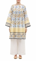 EMBROIDERED FROCK  ROUND NECK  FULL LENGTH STRAIGHT SLEEVES  PRINTED BACK