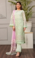 Shirt front: Chiffon embroidered 01-piece Shirt back: Chiffon embroidered 01-piece Sleeves: Chiffon embroidered 01-pair Dupatta: Chiffon embroidered 2.5 meters Trouser: Dyed 2.5 meters