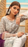 Shirt front: Cotton net embroidered 01-piece Shirt back: Cotton net embroidered 01-piece Sleeves: Cotton net embroidered 01-pair Dupatta: Chiffon embroidered 2.5 meters Border: Embroidered 02-pieces Trouser: Dyed 2.5 meters