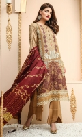 Shirt front: Cotton net embroidered 01-piece Shirt back: Cotton net embroidered 01-piece Sleeves: Cotton net embroidered 01-pair Dupatta: Silk digital printed 2.5 meters Border: Embroidered 02-pieces Trouser: Dyed 2.5 meters