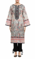 PRINTED CAMBRIC WITH EMBROIDERED NECKLINE