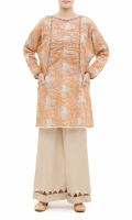 PRINTED FROCK  ROUND NECK  FULL LENGTH STRAIGHT SLEEVES  SIDE POCKETS , PRINTED BACK  LACE