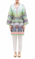 PRINTED KURTA V-NECK WITH LACE  FULL LENGTH LACE EMBALISHED BELL SLEEVES STRAIGHT HEM WITH LACE  PRINTED BACK