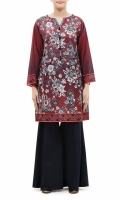 PRINTED FROCK  ROUND NECK  FULL LENGTH STRAIGHT SLEEVES  PRINTED BACK  PEARLS AND TASSELS