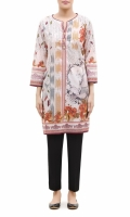 PRINTED KURTA  ROUND NECK  FULL LENGTH STRAIGHT SLEEVES  STRAIGHT HEM  PRINTED BACK  PEARLS AND BUTTONS