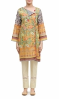 SIDE OPEN ROUND NECK  FULL LENGTH STRAIGHT SLEEVES  STRAIGHT HEM  PRINTED BACK  TASSELS AND PEARLS