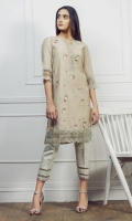Jacquard multi colour embroidered shirt Cut work embroidered neckline embellished with buttons Straight sleeves Straight hem