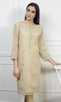 Jacquard embroidered shirt Long v-neck Straight embroidered sleeves Straight hem