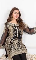 Embellish with dabka work and naqshi Cut dana black moti with golden sequence