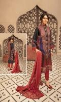 Chunri Print Lawn Embroidered Chafon Dupatta Plain Trouser