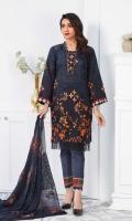 Printed Premium Lawn Shirt Embroidered Crinkle Chiffon Dupatta Plain Trouser