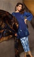 Shirt Front: Dyed Lawn Shirt Back:Dyed Jacquard Dupatta: Digital Printed Silk Sleeves: Dyed Lawn Trouser: Digital Printed  EMBROIDERY 1.Full Embroidered Front 2.Full Embroidered Sleeves