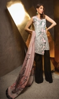 Shirt Front: Digital Printed Lawn Shirt Back: Digital Printed Lawn Dupatta: Digital Printed Silk Sleeves: Digital Printed Lawn Trouser: Dyed EMBROIDERY 1.Embroidered Bunches for Front