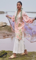Lasercut Embroidered and Digital Printed Shirt Front and Back: 3.15 Meters Digital Printed Sleeves Dyed Trouser: 2.5 Meters Digital Printed Silk Dupatta: 2.5 Meters Embroidered Neckline: 1 Piece Embroidered Motifs: 2 Pieces