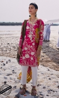 Embroidered Shirt Front and Digital Printed Shirt Back: 3.15 Meters Digital Printed Sleeves Dyed Trouser: 2.5 Meters Digital Printed Silk Dupatta: 2.5 Meters Embroidered Border: 1 Piece Embroidered Neckline: 1 Piece