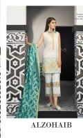 Shirt: Dyed Lawn Dupatta: Digital Printed Lawn Sleeves: Jacquard Trouser: Dyed EMBROIDERY 1. Full Front Shifly Embroidered Shirt 2. Embroidered Border For Trouser