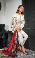 Shirt Front: Dyed Lawn Shirt Back: Dyed Jacquard Dupatta:Digital Printed Silk Sleeves: Dyed Lawn Trouser: Dyed EMBROIDERY 1. Full Front Embroidered on Shirt 2. Embroidered Sleeves 3.Embroidered Border For Trouser