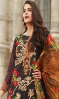 Shirt Front: Dyed Embroided Lawn Shirt Back: Digital Printed lawn  Dupatta: Digital Printed Silk Sleeves: Digital Printed lawn Trouser: Dyed Embroidery 1. Full Front Embroidered on Shirt 2. Embroidered Daman For Shirt