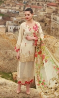 Shirt: Dyed jacquard Dupatta: Digital Printed Silk Sleeves: Dyed Jacquard Trouser: Dyed Embroidery 1. Embroidered yock 2. Embroidered Daman for Shirt 3. Embroidered Border for Sleeves 4. Full Front Embroidered  5. Embroidered Pallu for Dupatta on Shirt