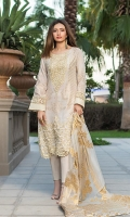 Fabric Details: Shirt Front: Dyed Jacquard Shirt Back: Digital Printed Lawn Sleeves: Dyed Jacquard Dupatta: Banarsi Jacquard Organza Trouser: Dyed Cotton  Embroidery Details: Embroidered Gala Embroidered Daman For Front Embroidered Border For Sleeves