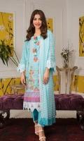 Shirt: Printed Lawn Dupatta: Dyed Chikan Chiffon Trouser: Dyed Cotton  Embroidery:  1-Embroidered Gala on Shirt 2- Embroidered Daman on Shirt 3- Embroidered Chikan Kari Dupatta