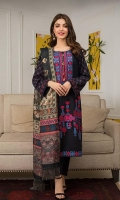 Shirt: Digital Printed Lawn Dupatta: Digital Printed Jacquard Trouser: Dyed Cotton  Embroidery:  1- Full Front Embroidered Shirt