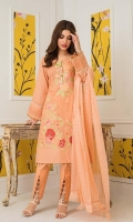 Shirt: Digital Printed Lawn Dupatta: Dyed Chikan Chiffon Trouser: Dyed Cotton  Embroidery:  1- Embroidered Bunch For Neck 2- Embroidered Daman On Shirt 3- Embroidered Chikan Kari Dupatta