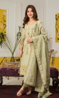 Shirt:Digital Printed Lawn Dupatta: Dyed Jacquard Trouser: Dyed Cotton  Embroidery:  1- Front Embroidery Shirt