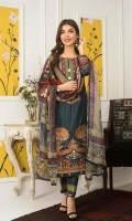 Shirt: Digital Printed Lawn Dupatta: Digital Printed Silk Trouser: Dyed Cotton  Embroidery:  1-Embroidered Gala On Shirt 2- Embroidered Daman on Shirt