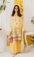 Shirt: Printed Lawn Dupatta: Dyed Chikan Chiffon Trouser: Dyed Cotton  Embroidery:  1- Embroidered Gala on Shirt 2- Embroidered Daman on Shirt 3- Embroidered Chikan Kari Dupatta