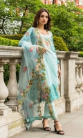 Shirt:  Printed Lawn  Dupatta:  Embroidered Net  Trouser: Dyed  Embroidery:  Embroidered Gala on Shirt  Emboirdered Daman on Shirt  Embroidered Net dupatta