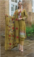 Shirt:  Digital Printed Lawn  Dupatta:  Embroidered Chiffon  Trouser: Dyed  Embroidery:  Embroidered Gala on Front  Embroidered Chiffon Dupatta