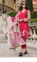 Shirt:  Printed Lawn  Dupatta:  Digtial Printed Net  Trouser: Dyed  Embroidery:  Full Embroidered Shirt  Embroidered Gala