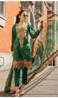 Shirt:         Printed Lawn Dupatta:    Printed Chiffon Trouser:     Dyed Embroidery: Embroidered Gala on Front Embroidered Daman on Front